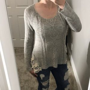 Altar'd State cable knit sweater with lace small